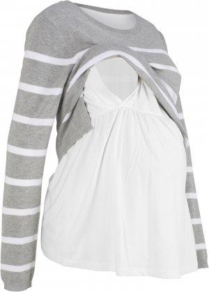 Пуловер для будущих и кормящих мам bonprix. Цвет: серый