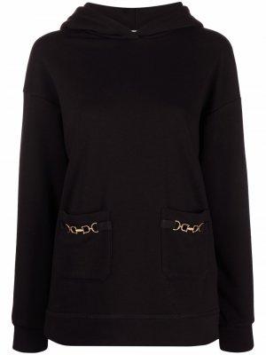 Horsebit-detail hoodie Elisabetta Franchi. Цвет: черный