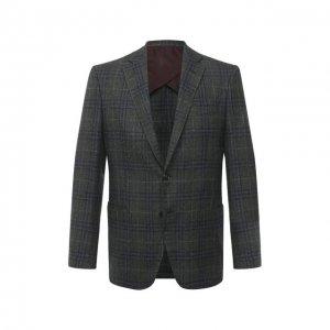 Пиджак из шерсти и шелка Luciano Barbera. Цвет: зелёный