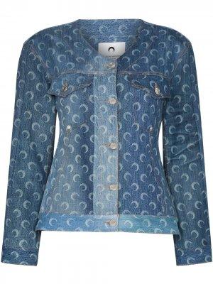 Джинсовая куртка из переработанного хлопка с принтом Moon Marine Serre. Цвет: синий