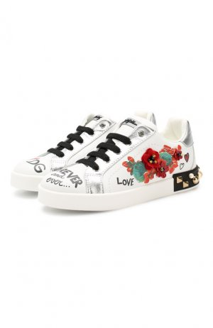 Кожаные кеды Dolce & Gabbana. Цвет: белый