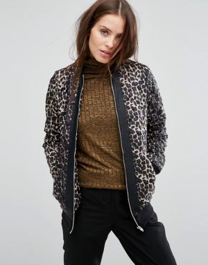 Бомбер с леопардовым принтом Vero Moda. Цвет: черный