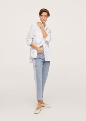 Прямые джинсы с завышенной талией и контрастом - Cindy Mango. Цвет: синий средний