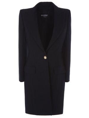 Шерстяное пальто Balmain. Цвет: черный