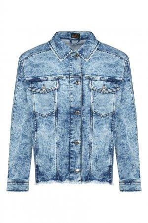Синяя джинсовая куртка со стразами Marina Rinaldi. Цвет: синий
