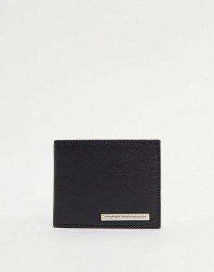 Черный с серебристым бумажник классического складного дизайна металлической планкой -Черный цвет French Connection
