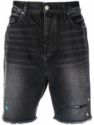 Джинсовые шорты с эффектом разбрызганной краски AMIRI. Цвет: черный