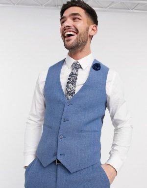 Облегающий жилет в ёлочку василькового цвета с добавлением шерсти wedding-Голубой ASOS DESIGN