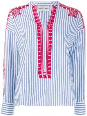 Рубашка в полоску с вышивкой Antik Batik. Цвет: синий