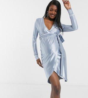Пыльно-синее платье миди с запахом из эластичного атласа ASOS DESIGN Maternity-Синий Maternity