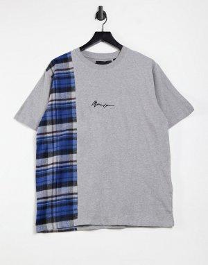 Серая футболка с вертикальной вставкой в клетку и короткими рукавами -Серый Mennace
