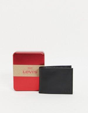 Черный кожаный бумажник с логотипом Levis-Черный цвет Levi's