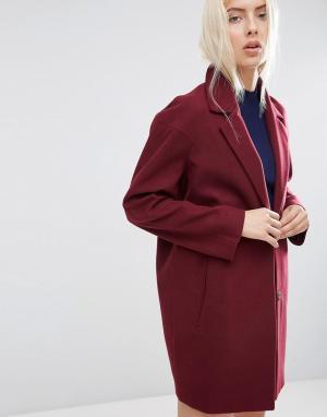 Пальто-кокон в мальчишеском стиле ASOS. Цвет: красный
