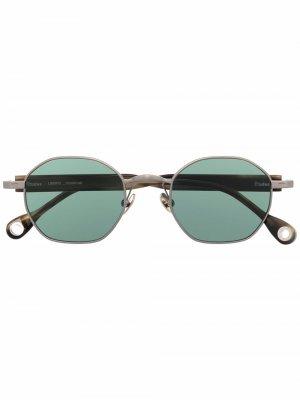 Солнцезащитные очки Liberte в круглой оправе Etudes. Цвет: золотистый