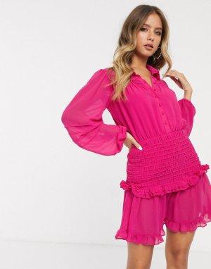 Розовое платье-рубашка мини с длинными рукавами -Розовый Bardot