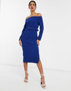 Платье-футляр с открытыми плечами -Синий Closet London