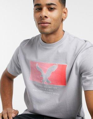 Серая футболка с большим логотипом-орлом на груди -Серый American Eagle