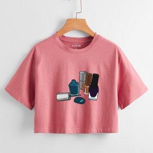 Лак для ногтей принтом Кроп-футболка SHEIN. Цвет: пыльный розовый