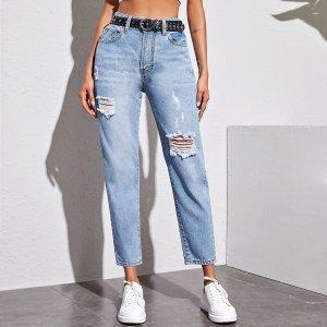 Рваные джинсы без пояса SHEIN. Цвет: легкий синий умывания