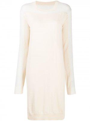 Платье с вязаными вставками Maison Margiela. Цвет: нейтральные цвета