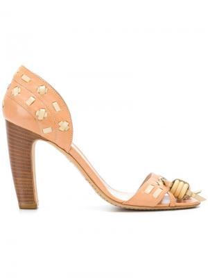 Босоножки на наборном каблуке Céline Pre-Owned. Цвет: коричневый