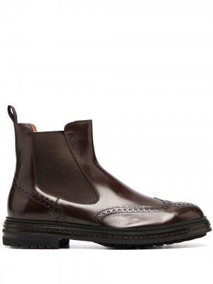 Ботинки оксфорды по щиколотку Santoni. Цвет: коричневый
