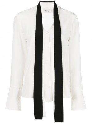 Блузка с завязками на воротнике Arias. Цвет: белый