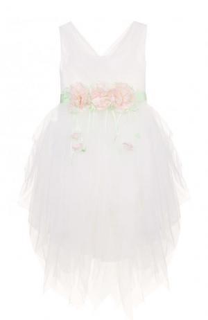 Платье без рукавов с декорированным поясом Aletta. Цвет: белый