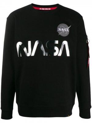 Толстовка с логотипом NASA Alpha Industries. Цвет: черный