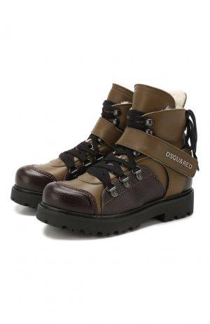 Кожаные ботинки с меховой отделкой Dsquared2. Цвет: хаки