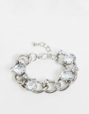 Серебристый браслет из цепочки с крупными звеньями и стразами -Серебряный ASOS DESIGN