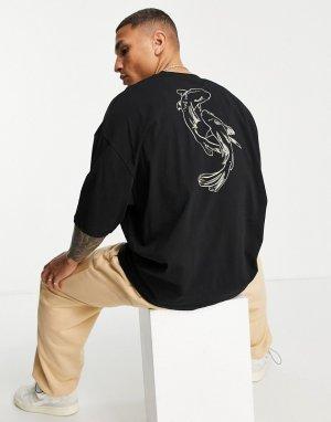 Черная oversized-футболка с графическим принтом рыбы на спине -Черный цвет ASOS DESIGN
