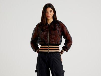 Куртка-бомбер на молнии Benetton. Цвет: черный