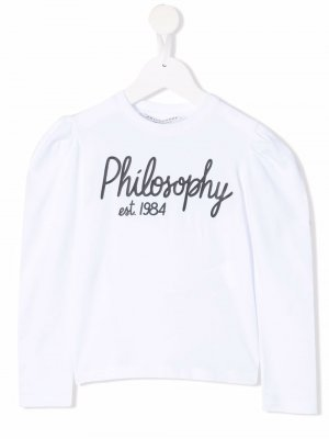 Logo-print crew neck sweatshirt Philosophy Di Lorenzo Serafini Kids. Цвет: белый