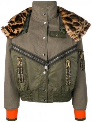 Куртка-бомбер с леопардовым воротником Dolce & Gabbana. Цвет: зеленый