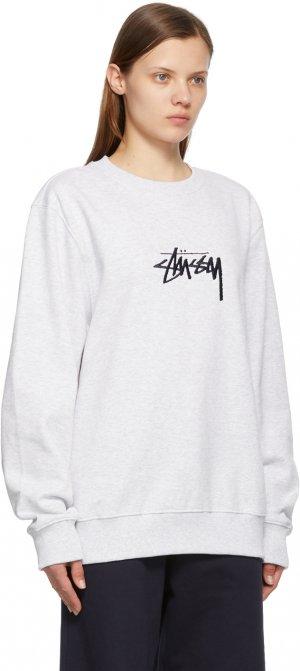 Grey Embroidered Stock Sweatshirt Stüssy. Цвет: grey