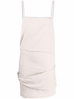Платье мини с металлическим декором The Attico. Цвет: нейтральные цвета