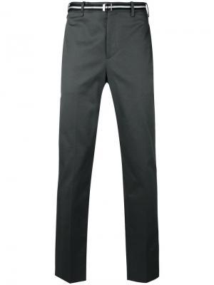 Классические брюки с ремнем Neil Barrett. Цвет: серый
