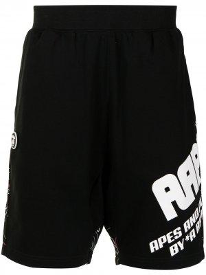 Panelled logo-print track shorts AAPE BY *A BATHING APE®. Цвет: черный