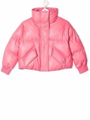 Cropped padded jacket MM6 KIDS. Цвет: розовый