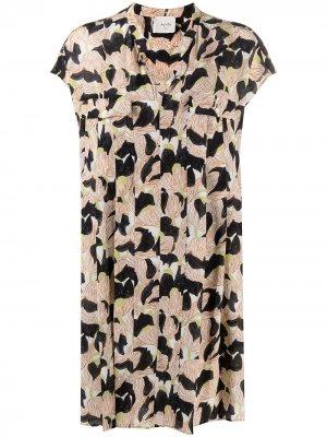 Платье-рубашка с цветочным принтом Alysi. Цвет: нейтральные цвета