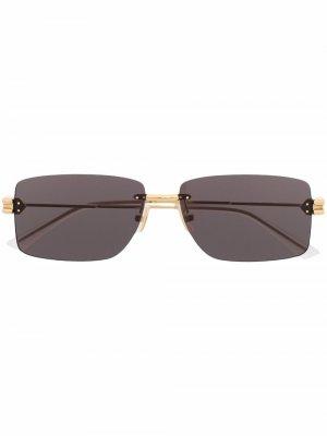 Солнцезащитные очки в прямоугольной оправе Bottega Veneta Eyewear. Цвет: золотистый