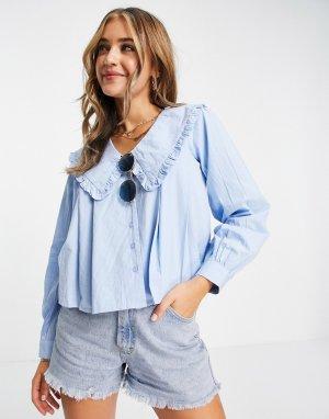 Голубая плиссированная блузка из хлопкового поплина с большим воротником -Голубой Influence