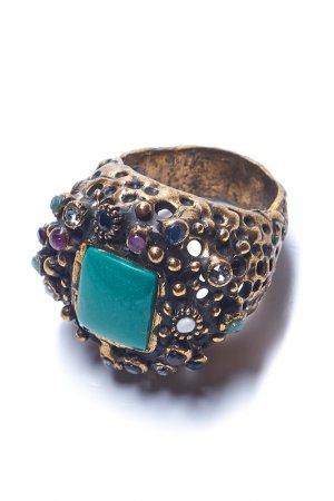 Кольцо ALCOZER. Цвет: золотой, зеленый