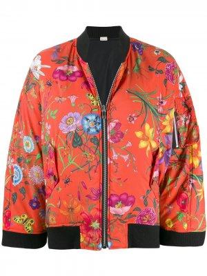 Куртка-бомбер с цветочным принтом Gucci. Цвет: оранжевый
