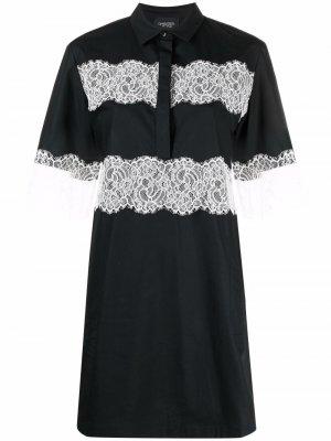 Платье-рубашка с кружевной вставкой Giambattista Valli. Цвет: черный