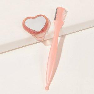 Триммер для бровей с зеркалом SHEIN. Цвет: розовые