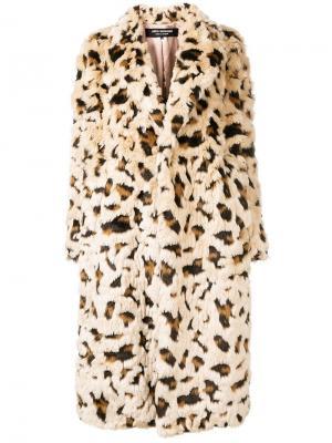 Шуба с леопардовым узором Junya Watanabe. Цвет: бежевый