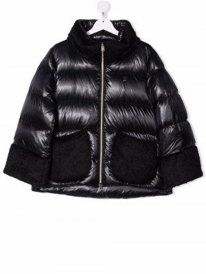 Faux-fur trim padded coat Herno Kids. Цвет: черный