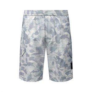 Хлопковые шорты Stone Island. Цвет: серый